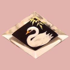 Fabulous CARVED LUCITE Swan Design Vintage Brooch