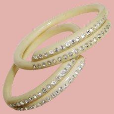 Fabulous ART DECO Celluloid & Rhinestone Bangle Bracelet Set