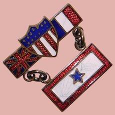 WWI Antique Son in Service Enamel Sweetheart Pin - Allied Forces - Star in Heart