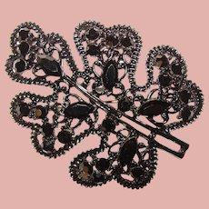 Fabulous BLACK on BLACK Vintage Rhinestone Brooch