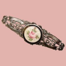Gorgeous Vintage ENAMEL Ornate Filigree Brooch