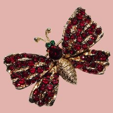 Gorgeous CORO Red Rhinestone Butterfly Brooch