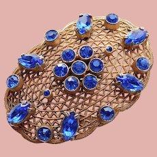Fabulous ART DECO Filigree Blue Rhinestone Brooch