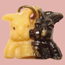 Vintage Celluloid DOGS Black & White Estate Charm