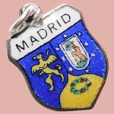 Silvertone MADRID Enamel Vintage Charm - Travel Shield - Souvenir of Spain