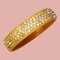 Fabulous ART DECO Celluloid & Clear Rhinestone Vintage Bangle Bracelet