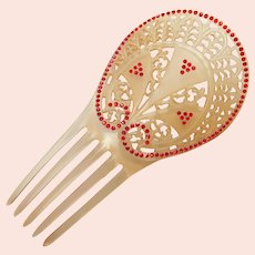 Fabulous Antique HAIR COMB - Celluloid with Red Rhinestones