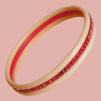 Fabulous ART DECO Celluloid & Red Rhinestone Bangle Bracelet - Laminated Bi-Color