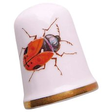 Vintage BUG Insect Beetle Porcelain Estate Thimble