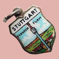 800 Silver & Enamel STUTTGART Charm - Souvenir of Germany - Travel Shield