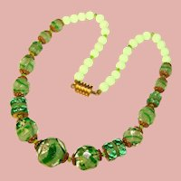 Fabulous ART DECO Art Glass Beads Necklace