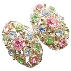 Gorgeous PASTEL RHINESTONE Vintage Clip Earrings