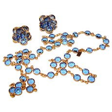 Fabulous SWAROVSKI Bezel Edge Set Blue Stones Vintage Necklace & Earrings – Sparkling Crystals