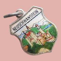800 Silver & Enamel NEW SWANSTONE CASTLE Neuschwanstein Charm - Souvenir of Germany - Travel Shield