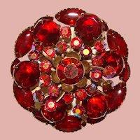 Fabulous RED AURORA Rhinestone Vintage Brooch