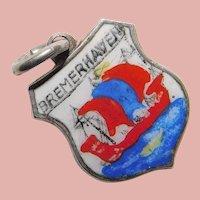 800 Silver & Enamel BREMERHAVEN Charm - Souvenir of Germany - Travel Shield