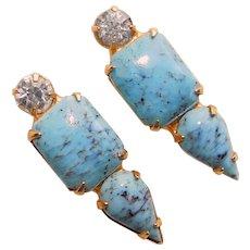 Gorgeous TURQUOISE COLOR Glass & Rhinestone Vintage Earrings - Screw Backs