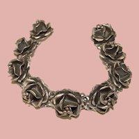 Fabulous MEXICAN STERLING High Dimension Vintage Ornate Flower Design Bracelet