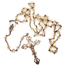 Beautiful STERLING Crystal Bead Vintage Rosary