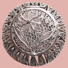 Fabulous 800 Silver Filigree Trinket Box - Flower Design on Top - Hinged Lid
