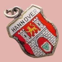 800 Silver & Enamel HANNOVER Hanover Charm - Souvenir of Germany - Travel Shield
