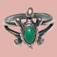 Awesome STERLING Turtle Design Vintage Ring