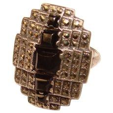 Fabulous UNCAS STERLING Art Deco Onyx & Marcasite Vintage Ring