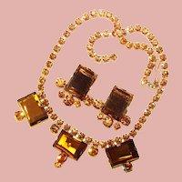 Fabulous TOPAZ BROWN Colored Rhinestone Vintage Necklace Set