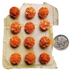 Gorgeous ORANGE GLASS Art Deco Buttons - Set of 12 on Card