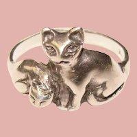 Awesome STERLING Cat Design Vintage Ring - Size 7