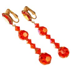 Fabulous ORANGE Aurora Crystal Vintage Dangle Clip Earrings