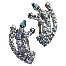Gorgeous Aurora & Green Aurora Rhinestone Vintage Clip Earrings