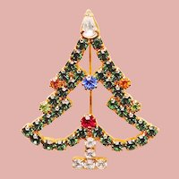 Gorgeous CHRISTMAS TREE Rhinestone Brooch