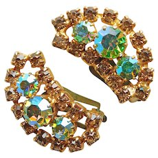 Gorgeous AUSTRIA Fawn & Green Aurora Rhinestone Vintage Clip Earrings