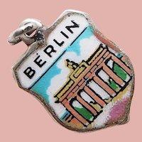 800 Silver & Enamel BERLIN Charm - Souvenir of Germany - Travel Shield