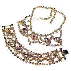Fabulous AURORA RHINESTONE Vintage Necklace & Bracelet Set