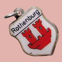 800 Silver & Enamel ROTHENBURG Charm - Souvenir of Germany - Travel Shield