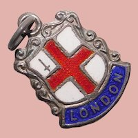 800 Silver & Enamel LONDON Charm - Souvenir of England Great Britain - Travel Shield