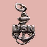 Sterling USN NAVY Anchor Sweetheart Charm