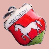 800 Silver & Enamel VOLENDAM Charm - Souvenir of Netherlands - Travel Shield