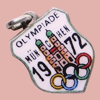 800 Silver & Enamel 1972 OLYMPICS Munich Charm - Souvenir of Germany - Travel Shield - Olympiade Munchen