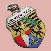 800 Silver & Enamel LIECHTENSTEIN Charm - European Souvenir -Travel Shield