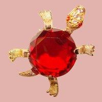 Awesome RED TURTLE Vintage Rhinestone Brooch
