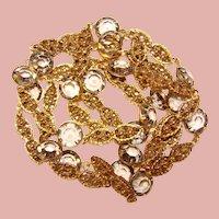 Gorgeous BEZEL EDGE SET Smoke Colored Austria Crystal Stones Necklace