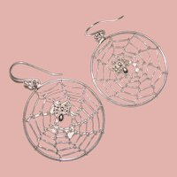 Awesome STERLING Spider in Web Design Earrings