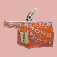 Enamel OKLAHOMA Silvertone Vintage Estate Charm - State Souvenir