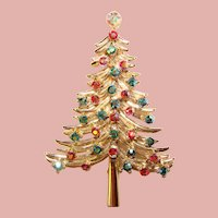 Awesome DODDS Vintage Christmas Tree Design Rhinestone Brooch