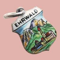 800 Silver & Enamel EHRWALD Charm - Souvenir of Austria - Travel Shield