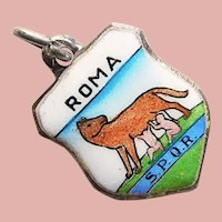 800 Silver & Enamel ROME Roma Charm - Souvenir of Italy - Romulus & Remus - Travel Shield