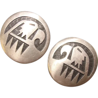 Fabulous Sterling Norman Honie Native American Hopi Eagle Design Clip Earrings